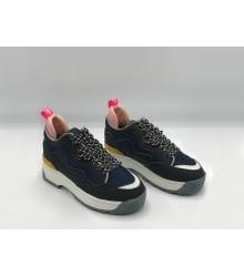 Женские кроссовки Fendi (Фенди) кожаные на шнуровке Black