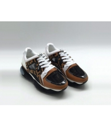Женские кроссовки Fendi (Фенди) кожаные на шнуровке Brown/White