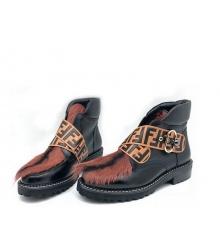 Ботинки женские Fendi (Фенди) кожаные на шнуровке с мехом Black