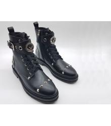 Ботинки женские Fendi (Фенди) кожаные на шнуровке с ремешком и клепками Black