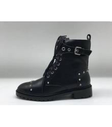 Женские ботинки Fendi (Фенди) кожаные на шнуровке с ремешком и заклепками Black