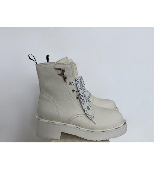 Женские ботинки Fendi (Фенди) кожаные на шнуровке White