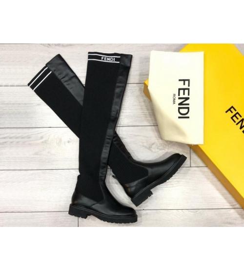 Женские ботфорты Fendi (Фенди) кожаные низкий каблук Black