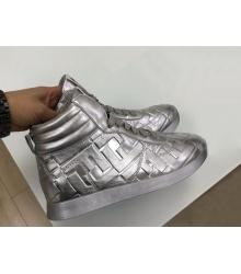 Женские кеды Fendi (Фенди) кожаные Silver