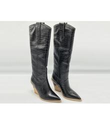 Казаки женские Fendi (Фенди) кожаные высокий каблук скошенный Black