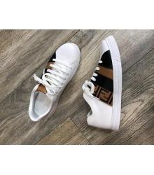 Женские кеды Fendi (Фенди) летние кожаные White/Brown