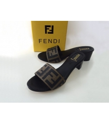 Женские сандалии сабо Fendi (Фенди) летние на среднем каблуке Brown/Black