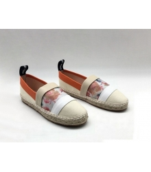 Женские эспадрильи Fendi (Фенди) летние текстиль White/Orange