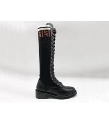 Женские ботинки высокие Fendi (Фенди) осенние кожаные на шнуровке Black