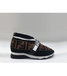 Женские кроссовки Fendi (Фенди) текстиль на липучке Brown