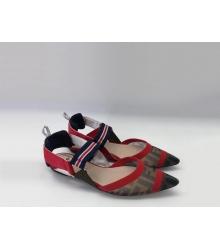 Женские сандалии Fendi (Фенди) текстиль на низком каблуке Brown/Red
