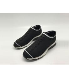 Женские кроссовки Fendi (Фенди) текстиль на резинке вязаные Black