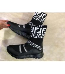 Женские кроссовки Fendi (Фенди) текстиль высокие с лого Black