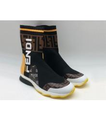 Женские кроссовки Fendi (Фенди) текстиль высокие с лого Brown