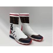 Женские кроссовки Fendi (Фенди) текстиль высокие с лого White/Brown
