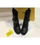 Ботинки женские Fendi (Фенди) зимние кожаные с мехом на шнуровке с молниями Black