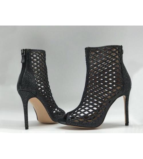 Ботильоны женские Gianvito Rossi (Джанвито Росси) Marie кожаные Black
