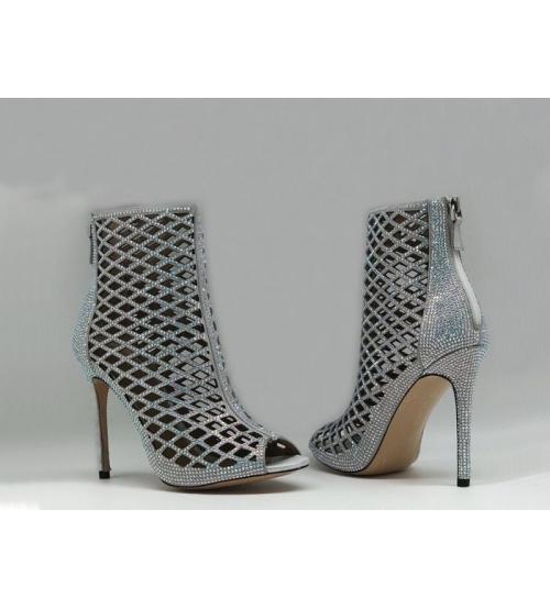 Ботильоны женские Gianvito Rossi (Джанвито Росси) Marie кожаные Silver