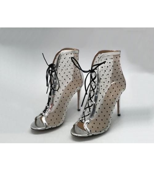Ботильоны женские Gianvito Rossi (Джанвито Росси) Marie сетка на высоком каблуке Silver