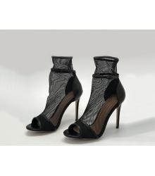 Ботильоны женские Gianvito Rossi (Джанвито Росси) Marie сетка на высоком каблуке Black
