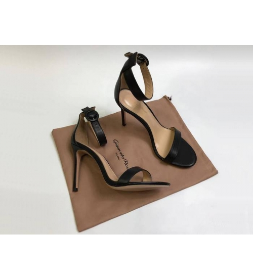 Босоножки женские Gianvito Rossi (Джанвито Росси) Portofino кожаные каблук шпилька Black