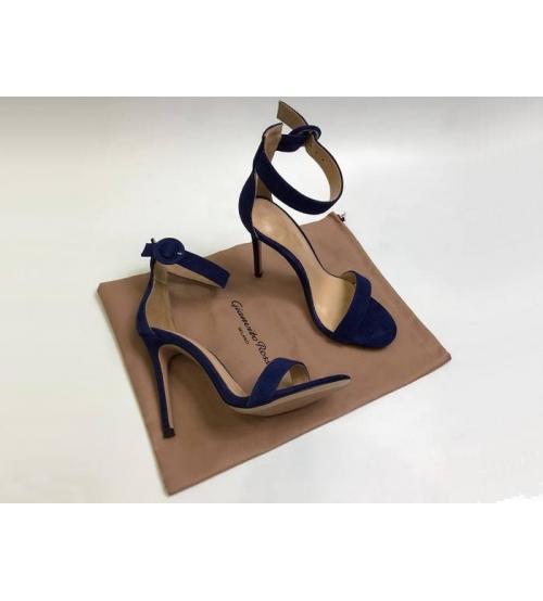 Босоножки женские Gianvito Rossi (Джанвито Росси) Portofino кожаные каблук шпилька Blue