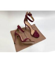 Босоножки женские Gianvito Rossi (Джанвито Росси) Portofino кожаные каблук шпилька Bordo