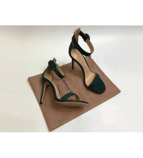 Босоножки женские Gianvito Rossi (Джанвито Росси) Portofino кожаные каблук шпилька Green