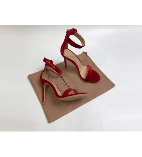 Босоножки женские Gianvito Rossi (Джанвито Росси) Portofino кожаные каблук шпилька Red