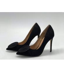 Женские туфли Gianvito Rossi (Джанвито Росси) замшевые каблук шпилька Black
