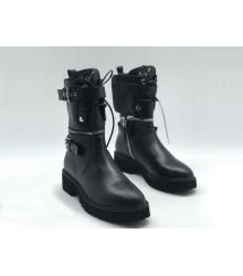 Женские ботинки Giuseppe Zanotti (Дзужеппе Занотти) кожаные на молнии отстегивается верх Black