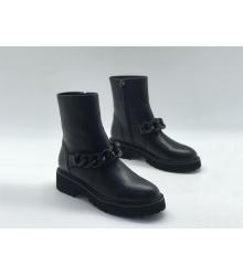 Женские полусапожки Giuseppe Zanotti (Дзужеппе Занотти) кожаные с цепью на молнии Black