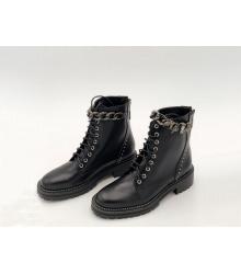 Женские полусапоги Givenchy (Живанши) кожаные на молнии с цепью Black