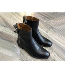 Женские полусапоги Givenchy (Живанши) кожаные на молниях Black
