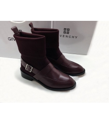 Женские полусапоги Givenchy (Живанши) кожаные на низком каблуке Bordo