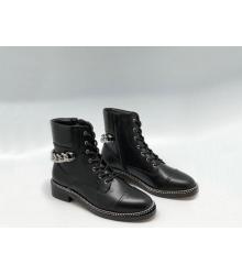 Женские ботинки Givenchy (Живанши) кожаные на шнурках с цепью Black