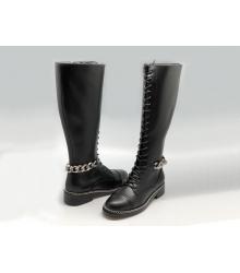 Женские сапоги Givenchy (Живанши) кожаные на шнуровке с цепью Black