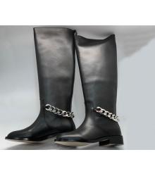 Сапоги женские Givenchy (Живанши) кожаные с цепочками Black