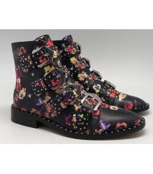 Ботинки женские Givenchy (Живанши) кожаные с цветами Black