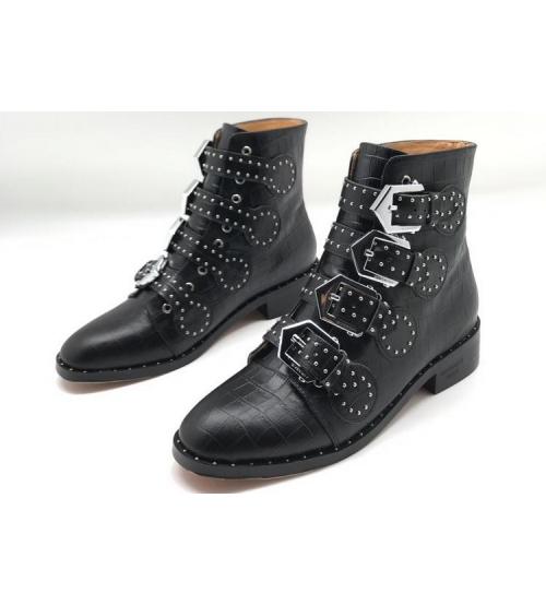 Женские ботинки Givenchy (Живанши) кожаные с пряжками Black
