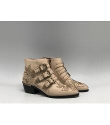 Женские ботинки Givenchy (Живанши) кожаные скошенный каблук Beige