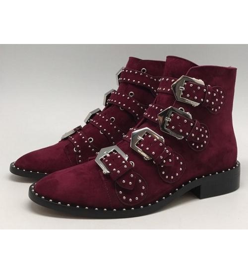 Ботинки женские Givenchy (Живанши) замшевые Bordo