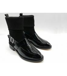 Женские ботинки Givenchy (Живанши) зимние кожа лаковая с замшей Black