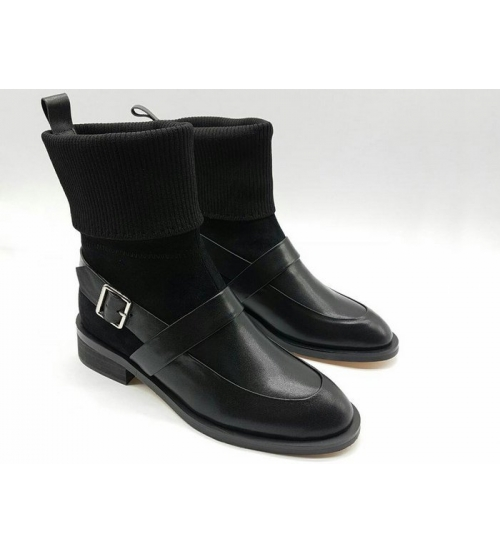 Женские ботинки Givenchy (Живанши) зимние кожа с замшей Black