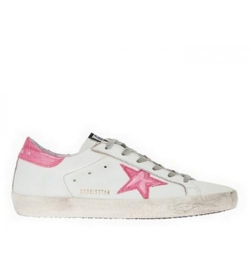 Женские кеды Golden Goose (Золотой Гусь) Deluxe Brand кожаные White/Pink