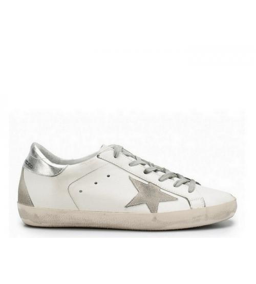 Женские кеды Golden Goose (Золотой Гусь) Deluxe Brand кожаные White/Silver