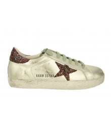 Кеды женские Golden Goose (Золотой Гусь) Deluxe Brand со звездой блестками Silver