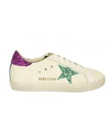 Кеды женские Golden Goose (Золотой Гусь) Deluxe Brand со звездой блестками White