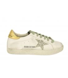 Кеды женские Golden Goose (Золотой Гусь) Deluxe Brand со звездой White/Gold