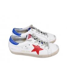 Женские кеды Golden Goose (Золотой Гусь) Deluxe Brand Star кожаные White/Blue